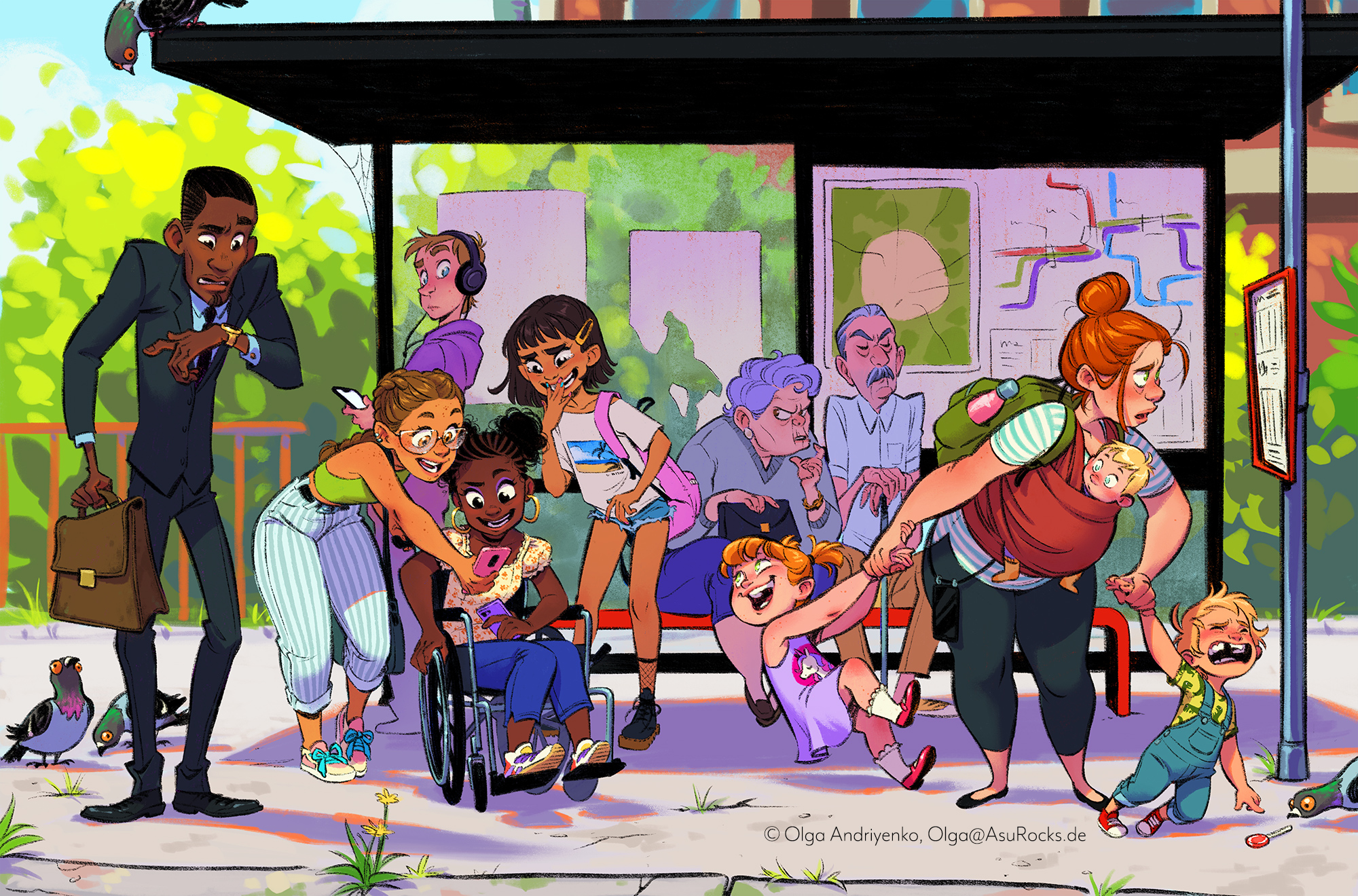 bus stop illustration with diverse characters